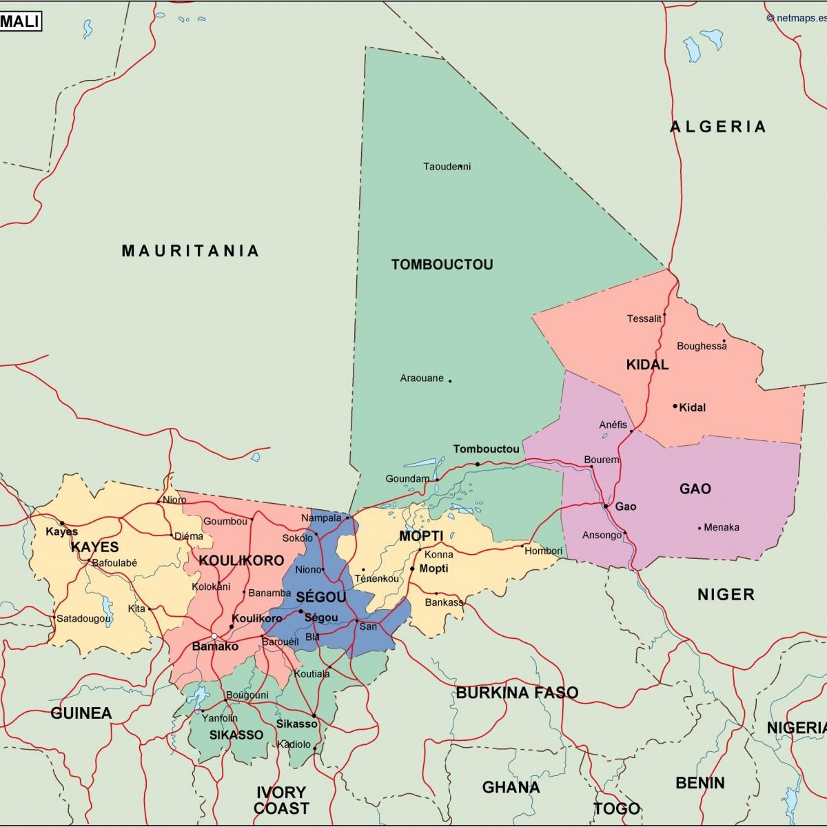 Political map of Mali - Map of political Mali (Western Africa - Africa)
