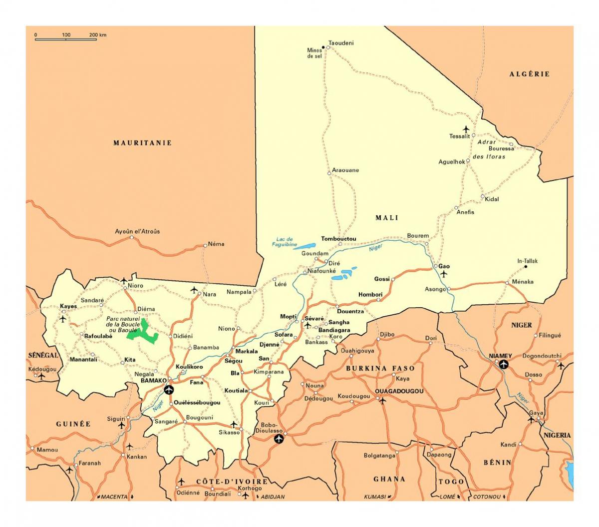 Map of Mali cities