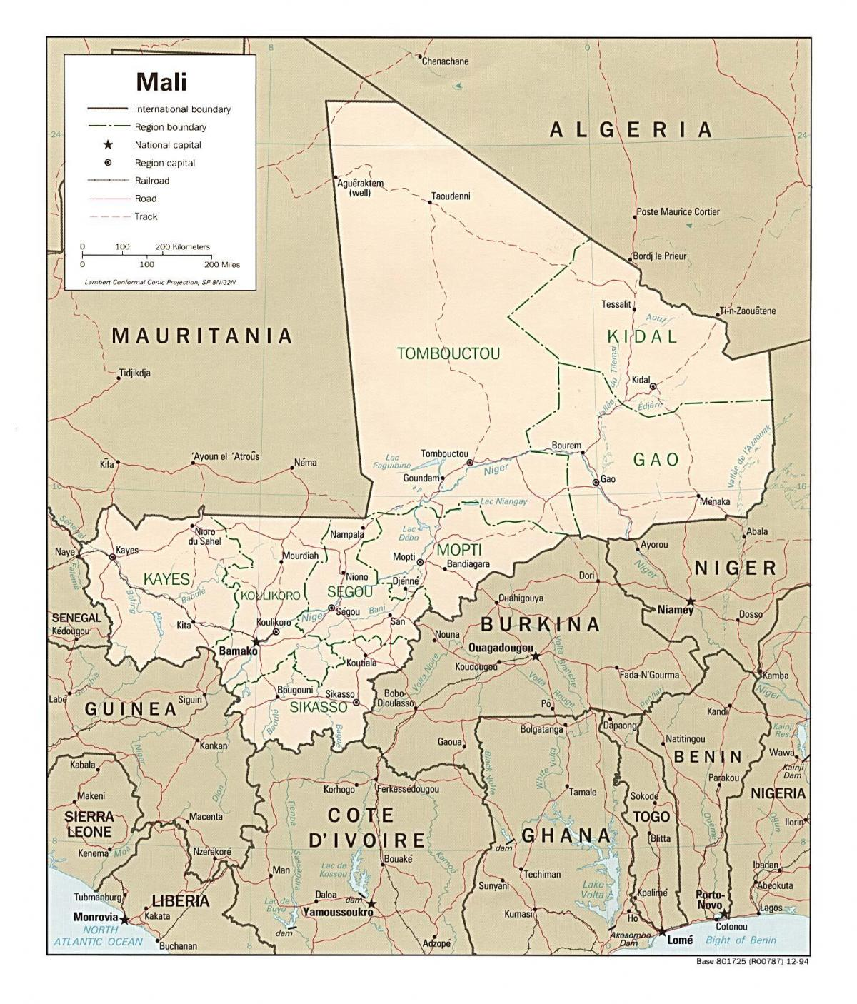 Map of Mali country