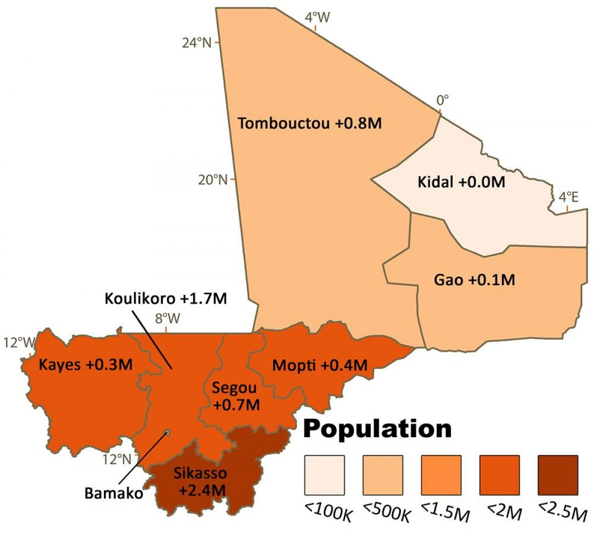 Map of Mali population