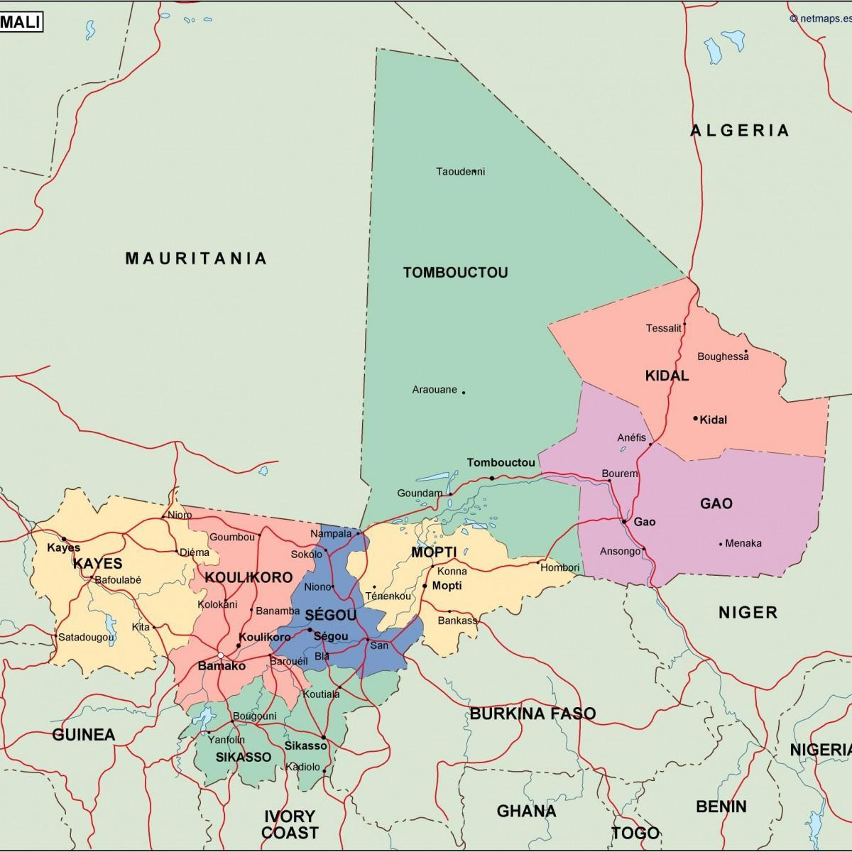 Political map of Mali   Map of political Mali (Western Africa
